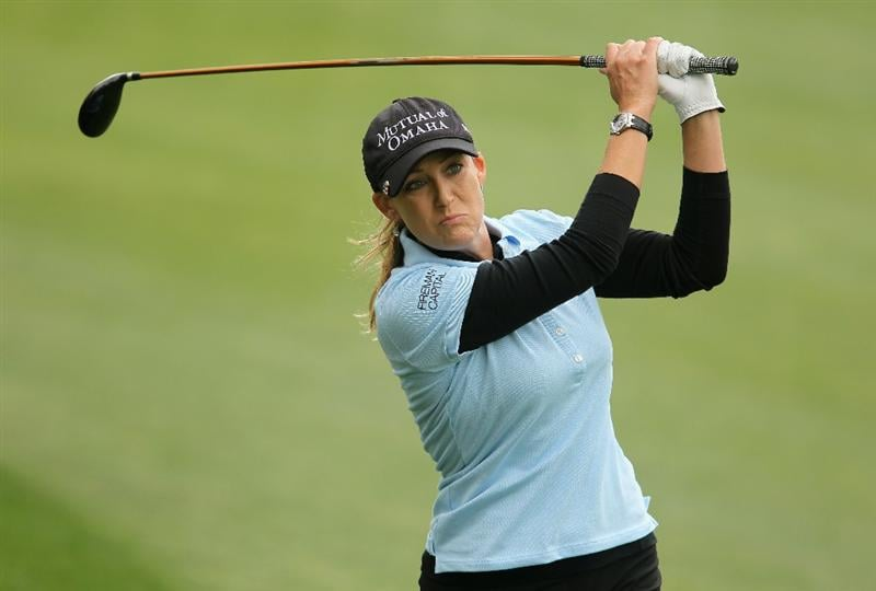CITY OF INDUSTRY, CA - MARCH 27:  Cristie Kerr hits her second shot on the seventh hole during the final round of the Kia Classic on March 27, 2011 at the Industry Hills Golf Club in the City of Industry, California.  (Photo by Scott Halleran/Getty Images)