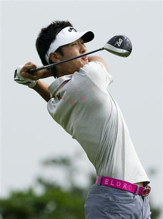 HAIKOU, CHINA - OCTOBER 29:  Danny Lee of New Zealand tees off on the 12th hole during day three of the Mission Hills Start Trophy tournament at Mission Hills Resort on October 29, 2010 in Haikou, China. The Mission Hills Star Trophy is Asia's leading leisure liflestyle event which features Hollywood celebrities and international golf stars.  (Photo by Victor Fraile/Getty Images for Mission Hills)