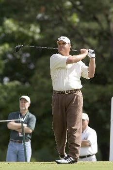 Brian Smock hits a tee shot during the third round of the Rheem Classic at Hardscrabble Country Club in Fort Smith, Arkansas on Saturday May 14, 2005.Photo by Wesley Hitt/WireImage.com