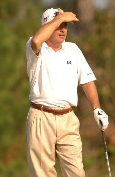 Curtis Strange looks at his shot from the ninth tee during the first round of the Administaff Small Business Classic at Augusta Pines Golf Club, in Spring, Texas October 14, 2005.Photo by Steve Grayson/WireImage.com