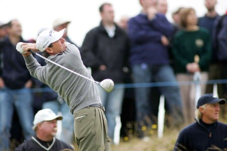 Des Smyth at the fourth tee during the third round of the 2005 Senior British Open at the Royal Aberdeen Golf Club in Aberdeen, Scotland on July 23, 2005.Photo by Newsline Scotland/WireImage.com