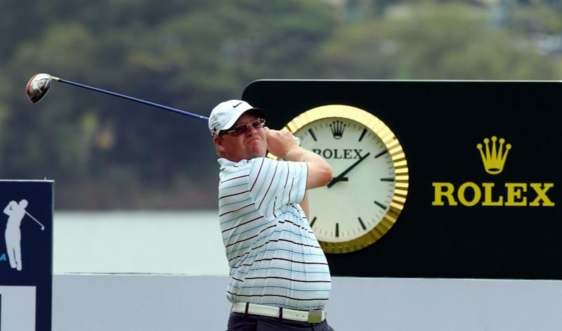 KUALA LUMPUR, MALAYSIA - OCTOBER 30: Carl Pettersson of sweden tees off on the 12th hole during day three of the CIMB Asia Pacific Classic at The MINES Resort & Golf Club on October 30, 2010 in Kuala Lumpur, Malaysia. (Photo by Stanley Chou/Getty Images)