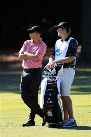 MADISON, MS - OCTOBER 01: Bill Haas (L) waits to play during the second round of the Viking Classic held at Annandale Golf Club on October 1, 2010 in Madison, Mississippi.  (Photo by Michael Cohen/Getty Images)