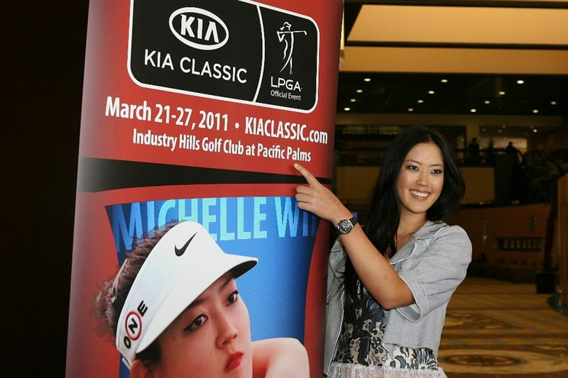 CITY OF INDUSRTY, CA - SEPTEMBER 18:  Michelle Wie arrives for a press conference to announce the Kia Classic LPGA event to be held in March of 2011 on September 18, 2010 at Industry Hills Golf Club at Pacific Palms in City of Industry, California.  (Photo by Jeff Golden/Getty Images)