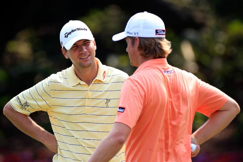 PONTE VEDRA BEACH, FL - MAY 11:  Sean O'Hair (L) talks with Webb Simpson (R) during a practice round prior to the start of THE PLAYERS Championship held at THE PLAYERS Stadium course at TPC Sawgrass on May 11, 2011 in Ponte Vedra Beach, Florida.  (Photo by Sam Greenwood/Getty Images)