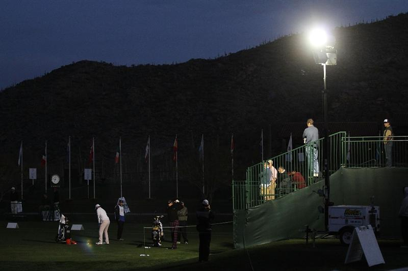 MARANA, AZ - FEBRUARY 20:  (L-R) Oliver Wilson and Ian Poulter of England on the practice range before the start of round four of the Accenture Match Play Championship at the Ritz-Carlton Golf Club on February 20, 2010 in Marana, Arizona.  (Photo by Darren Carroll/Getty Images)