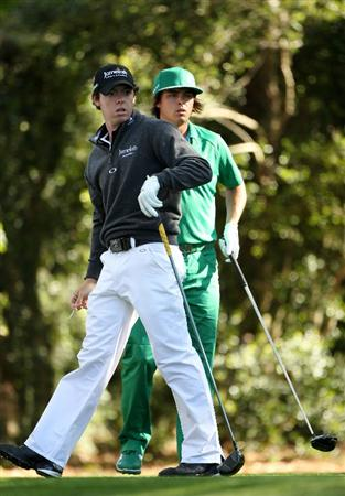 AUGUSTA, GA - APRIL 07:  Rory McIlroy of Northern Ireland and Rickie Fowler wait on the second tee during the first round of the 2011 Masters Tournament at Augusta National Golf Club on April 7, 2011 in Augusta, Georgia.  (Photo by Andrew Redington/Getty Images)
