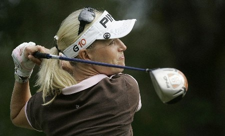 MOBILE, AL - NOVEMBER 10: Carin Koch of Sweden watches her drive on the 3rd hole during third round play in The Mitchell Company LPGA Tournament of Champions at Magnolia Grove Golf Course on November 10, 2007 in Mobile, Alabama.  (Photo by Dave Martin/Getty Images)