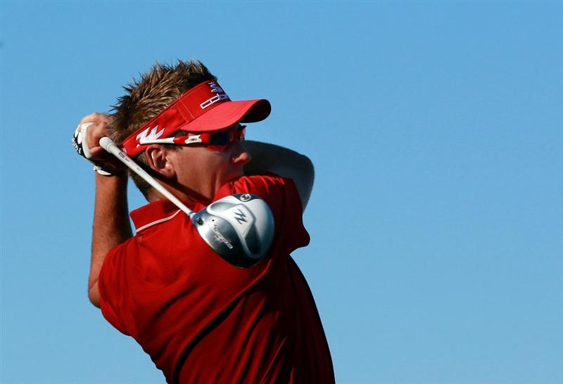 CASARES, SPAIN - MAY 21:  Ian Poulter of England in action during his last 16 match at the Volvo World Match Play Championship at Finca Cortesin on May 21, 2011 in Casares, Spain.  (Photo by Andrew Redington/Getty Images)