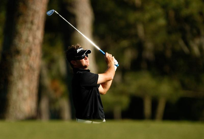 HILTON HEAD ISLAND, SC - APRIL 17:  Brian Gay watches his shot on the 16th hole during the second round of the Verizon Heritage at Harbour Town Golf Links on April 17, 2009 in Hilton Head Island, South Carolina.  (Photo by Streeter Lecka/Getty Images)