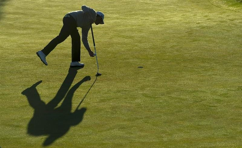 SAN MARTIN, CA - OCTOBER 15:  Alex Prugh sets up for a putt on the fourth hole during the second round of the Frys.com Open at the CordeValle Golf Club on October 15, 2010 in San Martin, California.  (Photo by Robert Laberge/Getty Images)