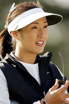 Grace Park prepares to tee off before the second round of the 2005 Michelob Ultra Open at Kingsmill on May 7, 2005Photo by Pete Fontaine/WireImage.com
