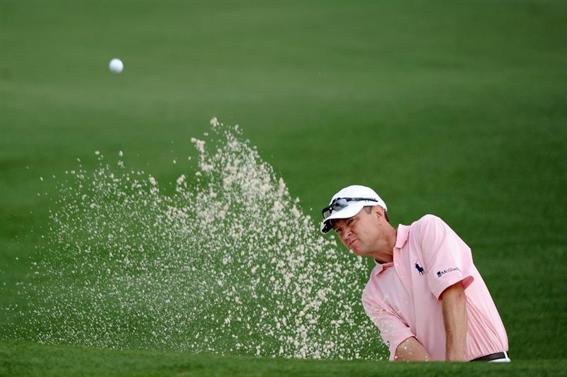 AUGUSTA, GA - APRIL 08:  Davis Love III plays a bunker shot on the second hole during the second round of the 2011 Masters Tournament at Augusta National Golf Club on April 8, 2011 in Augusta, Georgia.  (Photo by Harry How/Getty Images)