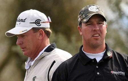 MARANA, AZ - FEBRUARY 22:  Woody Austin (L) and Boo Weekley look on at the second hole during the third round matches of the WGC-Accenture Match Play Championship at The Gallery at Dove Mountain February 22, 2008 in Marana, Arizona.  (Photo by Scott Halleran/Getty Images)