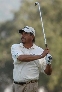 Eduardo Romero tees off on the par-three seventh hole during the second round of the Charles Schwab  Cup Championship on October 26, 2007 at the Sonoma Golf Club in Sonoma, California Champions Tour - 2007 Charles Schwab Cup Championship - Second RoundPhoto by Marc Feldman/WireImage.com