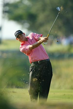 SEA ISLAND, GA - OCTOBER 10: Bill Haas hits his second shot on the 16th hole during the final round of the McGladrey Classic at Sea Island's Seaside Course on October 10, 2010 in Sea Island, Georgia. (Photo by Hunter Martin/Getty Images)