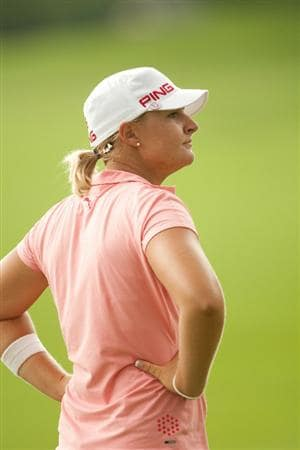 SPRINGFIELD, IL - JUNE 13: Anna Nordqvist of Sweden watches play during the fourth round of the LPGA State Farm Classic at Panther Creek Country Club on June 13, 2010 in Springfield, Illinois. (Photo by Darren Carroll/Getty Images)