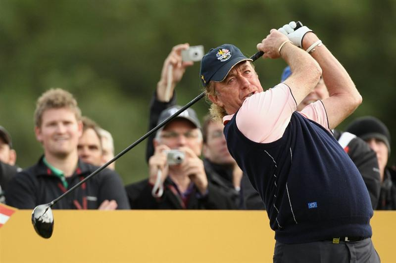 NEWPORT, WALES - SEPTEMBER 30:  Miguel Angel Jimenez of Europe tees off during a practice round prior to the 2010 Ryder Cup at the Celtic Manor Resort on September 30, 2010 in Newport, Wales.  (Photo by Ross Kinnaird/Getty Images)