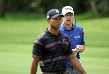 ORLANDO, FL - MARCH 15: Ben Crane of the USA keeps his eye on his playing partner Tiger Woods of the USA at the 1st hole during the third round of the 2008 Arnold Palmer Invitational presented by Mastercard at the Bay Hill Golf Club and Lodge, on March 15, 2008 in Orlando, Florida.  (Photo by David Cannon/Getty Images)