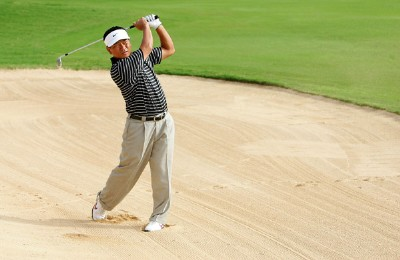 K. J. Choi of South Korea hits out of the bunker on the 16th hole during the second round of the Sony Open at the Waialae Country Club January 11, 2008 in Honolulu, Oahu, Hawaii. PGA TOUR - 2008 Sony Open in Hawaii - Second RoundPhoto by Jonathan Ferrey/WireImage.com