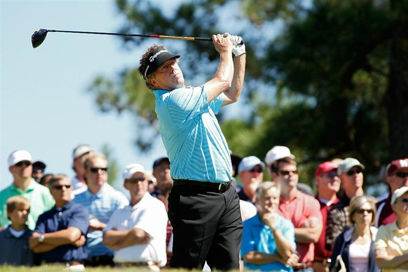 MADISON, MS - OCTOBER 03: Michael Allen hits his drive on the fourth hole during the final round of the Viking Classic held at Annandale Golf Club on October 3, 2010 in Madison, Mississippi.  (Photo by Michael Cohen/Getty Images)