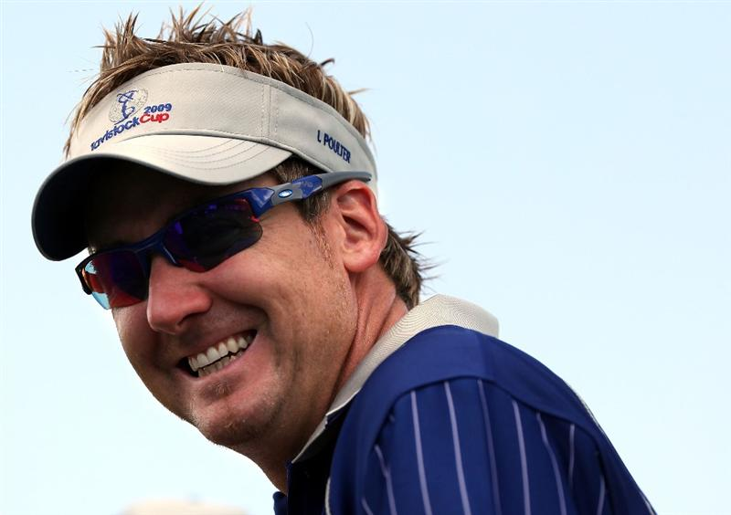 ORLANDO, FL - MARCH 16:  Ian Poulter of England smiles on the first hole during the Tavistock Cup on March 16, 2009 at Lake Nona Country Club in Orlando, Florida.  (Photo by Marc Serota/Getty Images)