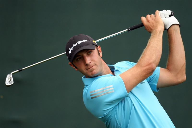 FARMINGDALE, NY - JUNE 20:  Dustin Johnson watches his tee shot on the 17th hole during the continuation of the second round of the 109th U.S. Open on the Black Course at Bethpage State Park on June 20, 2009 in Farmingdale, New York.  (Photo by Ross Kinnaird/Getty Images)