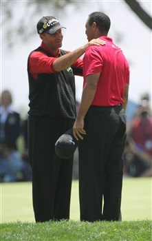 SAN DIEGO - JUNE 16:  Tiger Woods is congratulated by runner-up Rocco Mediate after winning on the first sudden death playoff hole during the playoff round of the 108th U.S. Open at the Torrey Pines Golf Course (South Course) on June 16, 2008 in San Diego, California.  (Photo by Doug Pensinger/Getty Images)