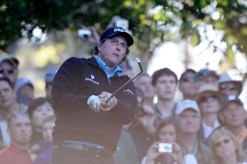 AUGUSTA, GA - APRIL 06:  Phil Mickelson watches a shot during a practice round prior to the 2011 Masters Tournament at Augusta National Golf Club on April 6, 2011 in Augusta, Georgia.  (Photo by Harry How/Getty Images)