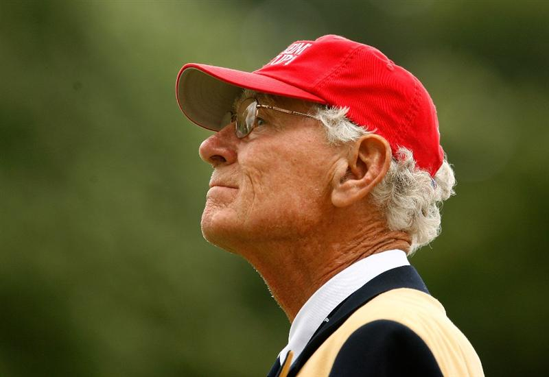 SUGAR GROVE, IL - AUGUST 21:  Course owner Jerry Rich watches the play during the friday morning fourball matches at the 2009 Solheim Cup at Rich Harvest Farms on August 21, 2009 in Sugar Grove, Illinois.  (Photo by Scott Halleran/Getty Images)