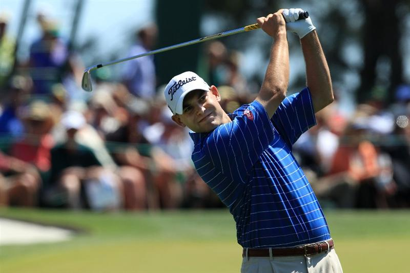 AUGUSTA, GA - APRIL 11:  Bill Haas watches his tee shot on the third hole during the final round of the 2010 Masters Tournament at Augusta National Golf Club on April 11, 2010 in Augusta, Georgia.  (Photo by David Cannon/Getty Images)