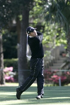 Thomas Levet tees off the 4th during the second round of the MCI Heritage at Harbour Town Golf Links April 15, 2005, at Hilton Head Island.Photo by Kevin Cox/WireImage.com