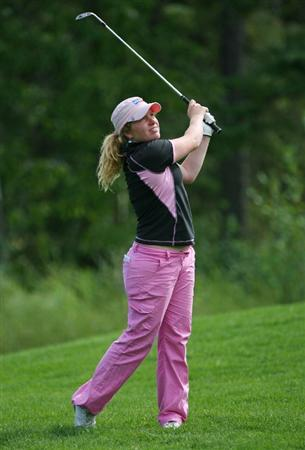 CALGARY, AB - SEPTEMBER 04 : Mikaela Parmlid of Sweden hits her third shot on the ninth hole during the second round of the Canadian Women's Open at Priddis Greens Golf & Country Club on September 4, 2009 in Calgary, Alberta, Canada. (Photo by Hunter Martin/Getty Images)