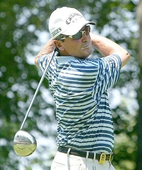 Mark McNulty of Orlando, Florida, tees off on 9 during the second round of the 2005 Bank of America Championship at Nashawtuc Country Club in Concord, Massachusetts, Saturday, June 25, 2005.Photo by Jim Rogash/WireImage.com