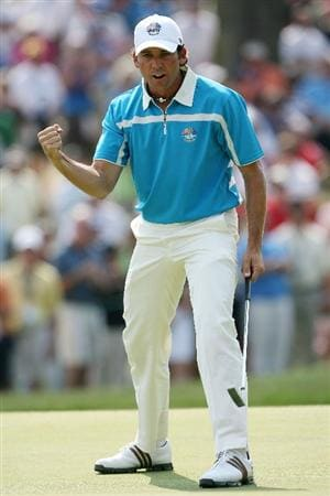 LOUISVILLE, KY - SEPTEMBER 20:  Sergio Garcia of the European team celebrates a birdie putt on the eighth hole during the afternoon four-ball matches on day two of the 2008 Ryder Cup at Valhalla Golf Club on September 20, 2008 in Louisville, Kentucky.  (Photo by Andy Lyons/Getty Images)