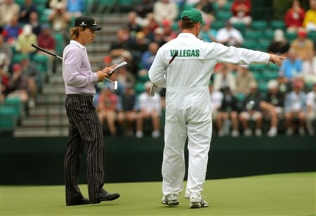 AUGUSTA, GA - APRIL 08:  Camilo Villegas of Columbia stands on the green with caddie Gary Matthews during the second day of practice prior to the start of the 2008 Masters Tournament at Augusta National Golf Club on April 8, 2008 in Augusta, Georgia.  (Photo by Harry How/Getty Images)