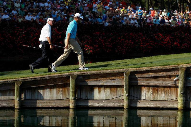 PONTE VEDRA BEACH, FL - MAY 15:  (L-R) Paul Goydos and Sean O'Hair walk up the 17th green during the final round of THE PLAYERS Championship held at THE PLAYERS Stadium course at TPC Sawgrass on May 15, 2011 in Ponte Vedra Beach, Florida.  (Photo by Scott Halleran/Getty Images)
