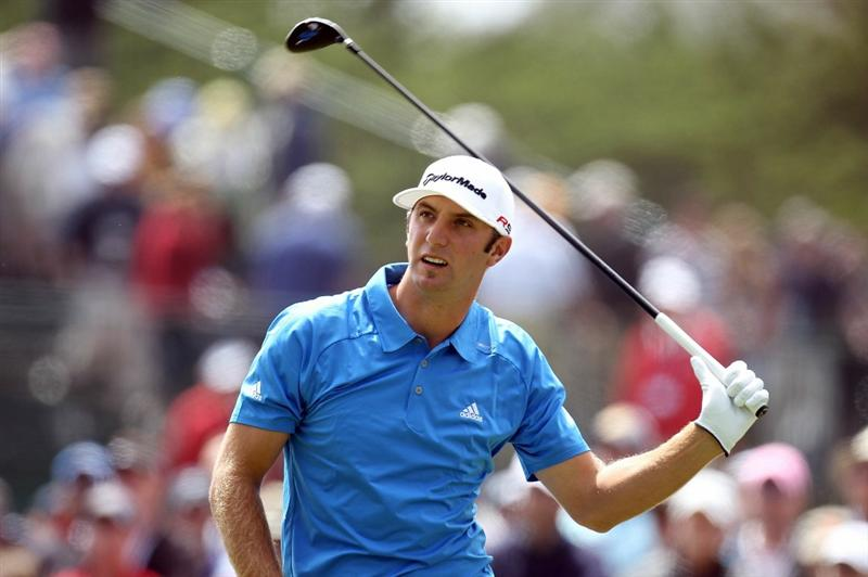 PEBBLE BEACH, CA - JUNE 20:  Dustin Johnson watches his tee shot on the  fourth hole during the final round of the 110th U.S. Open at Pebble Beach Golf Links on June 20, 2010 in Pebble Beach, California.  (Photo by Ross Kinnaird/Getty Images)