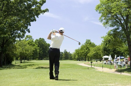Troy Matteson hits a tee shot on hole #11 during the fourth round of the Rheem Classic at Hardscrabble Country Club in Fort Smith, AR, May 15, 2005. Matteson ended the tournament in second with -10 score and moved into the lead on the money list.Photo by Wesley Hitt/WireImage.com