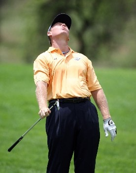 SUN CITY, SOUTH AFRICA - DECEMBER 01:  Ernie Els of South Africa reacts to his shot during the third round of the Nedbank Golf on the Gary Player Course on December 1, 2007 in Sun City, South Africa.  (Photo by Ross Kinnaird/Getty Images)