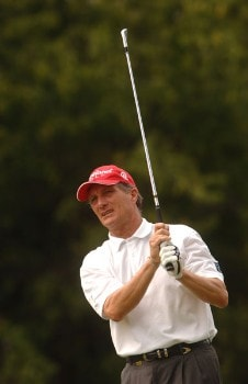 Gary Koch hits from the 13th tee during the final round of the Champion's TOUR 2005 SBC Championship at Oak Hill Country Club in San Antonio, Texas October 23, 2005.Photo by Steve Grayson/WireImage.com