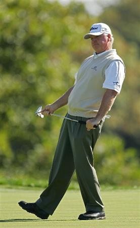 TIMONIUM, MD - OCTOBER 11:  Tom Jenkins reacts to a missed birdie putt on the sixth hole during the third round of the Constellation Energy Senior Players Championship at Baltimore Country Club East Course held on October 11, 2008 in Timonium, Maryland  (Photo by Michael Cohen/Getty Images)