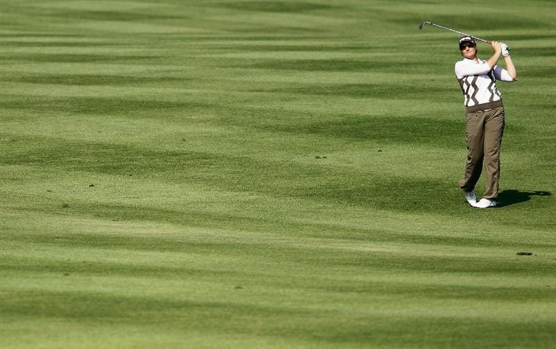 ORLANDO, FL - DECEMBER 05:  Maria Hjorth of Sweden hits her approach shot on the third hole during the final round of the LPGA Tour Championship at the Grand Cypress Resort on December 5, 2010 in Orlando, Florida.  (Photo by Scott Halleran/Getty Images)