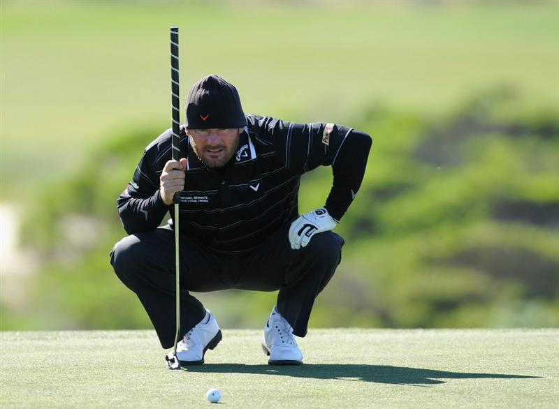 PEBBLE BEACH, CA - FEBRUARY 10:  Alex Cejka of Germany lines up a putt during the first round of the AT&T Pebble Beach National Pro-Am at Monterey Peninsula Country Club on February 10, 2011  in Pebble Beach, California.  (Photo by Stuart Franklin/Getty Images)
