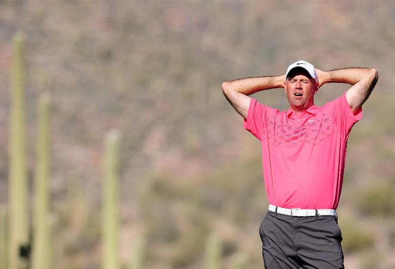 MARANA, AZ - FEBRUARY 19:  Stewart Cink looks relieved during round three of the Accenture Match Play Championship at the Ritz-Carlton Golf Club on February 19, 2010 in Marana, Arizona.  (Photo by Stuart Franklin/Getty Images)