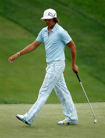 DUBLIN, OH - JUNE 03:  Rickie Fowler celebrates his biedie putt on the 18th hole during the first round of the Memorial Tournament presented by Morgan Stanley at Muirfield Village Golf Club on June 3, 2010 in Dublin, Ohio.  (Photo by Scott Halleran/Getty Images)