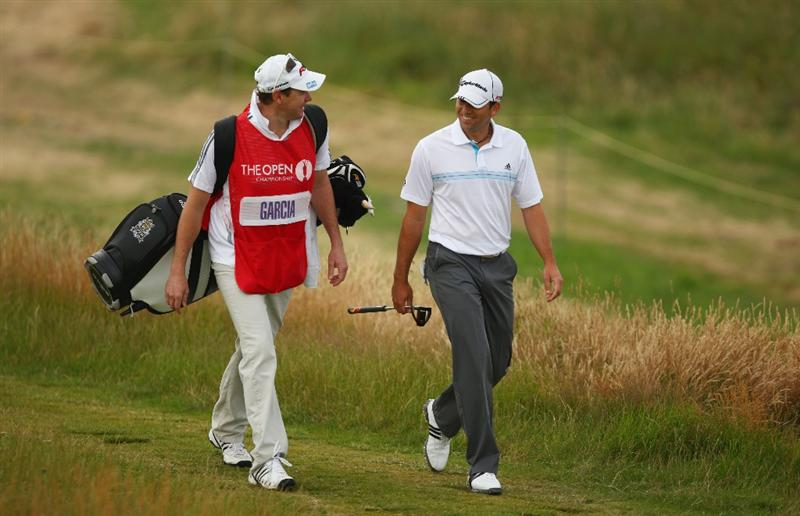 TURNBERRY, SCOTLAND - JULY 16:  Sergio Garcia of Spain walks with his caddie Glen Murray during round one of the 138th Open Championship on the Ailsa Course, Turnberry Golf Club on July 16, 2009 in Turnberry, Scotland.  (Photo by Richard Heathcote/Getty Images)