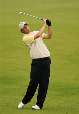 ST. ANDREWS, UNITED KINGDOM - AUGUST 30: Reiner Saxton of the Continent of Europe plays his second shot into the third green during the foursomes matches of The St Andrews Trophy 2008 between Great Britain & Ireland and the Continent of Europe, held at Kingsbarns Golf Club, on August 30, 2008. in Fife, Scotland.  (Photo by Warren Little/Getty Images)