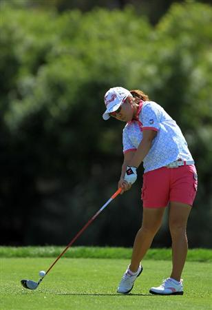 RANCHO MIRAGE, CA - APRIL 03:  Mika Miyazato of Japan plays her tee shot on the par 4, 6th hole during the final round of the 2011 Kraft Nabisco Championship on the Dinah Shore Championship Course at the Mission Hills Country Club on April 3, 2011 in Rancho Mirage, California.  (Photo by David Cannon/Getty Images)