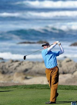 PEBBLE BEACH, CA - FEBRUARY 10:  Brad Faxon plays a shot during the first round of the AT&T Pebble Beach National Pro-Am at Monterey Peninsula Country Club on February 10, 2011  in Pebble Beach, California.  (Photo by Stuart Franklin/Getty Images)